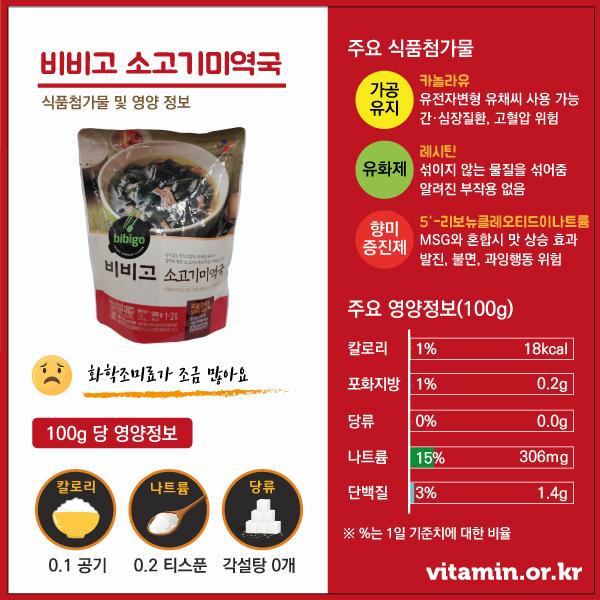 비비고미역국 식품첨가물