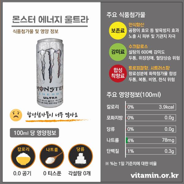 몬스터에너지울트라 식품첨가물