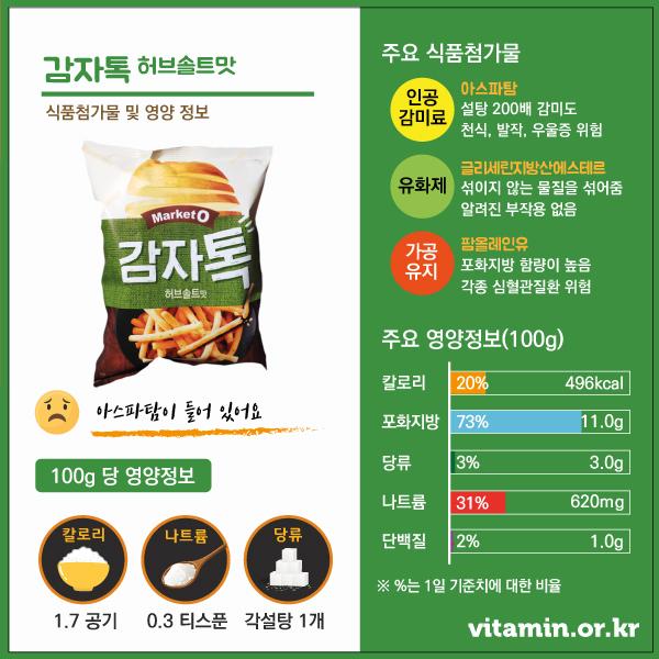 감자톡 허브솔트맛 식품첨가물 영양정보